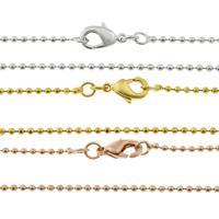 Messingkette Halskette, Messing, plattiert, Kugelkette, keine, frei von Nickel, Blei & Kadmium, 1.40mm, Länge:ca. 16.5 ZollInch, 50SträngeStrang/Tasche, verkauft von Tasche