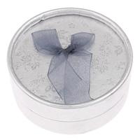 Karton Schmuckset Kasten, Fingerring & Ohrring, mit Baumwollsamt, flache Runde, Silberfarbe, 85mm, 12PCs/Tasche, verkauft von Tasche