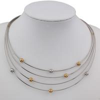 Edelstahl Schmuck Halskette, plattiert, 4-Strang, 6mm, verkauft per ca. 16.5 ZollInch Strang