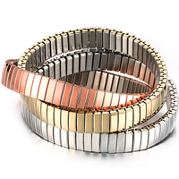 Edelstahl Armband-Set, plattiert, elastisch, 9mm, Länge:ca. 6.5 ZollInch, 3SträngeStrang/setzen, verkauft von setzen