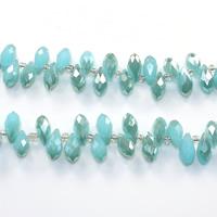 Tropfen Kristallperlen, Kristall, mit Glas-Rocailles, halb plattiert, facettierte, Aquamarin, 6x12mm, Bohrung:ca. 0.5mm, Länge:ca. 15 ZollInch, 10SträngeStrang/Menge, ca. 100PCs/Strang, verkauft von Menge