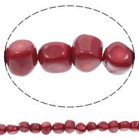 Natürliche Korallen Perlen, flache Runde, rot, 11x10mm-11x14mm, Bohrung:ca. 1mm, Länge:ca. 16 ZollInch, 10SträngeStrang/Tasche, ca. 32PCs/Strang, verkauft von Tasche