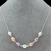 925 Sterling Silber Perlen Halskette, Natürliche kultivierte Süßwasserperlen, mit 925 Sterling Silber, natürlich, Kastenkette, farbenfroh, Klasse AA, 8-9mm, verkauft per ca. 17 ZollInch Strang