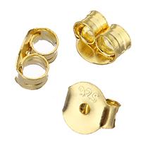 925 Sterling Silber Spannung Ohrmutter, vergoldet, 5x4.50x3mm, Bohrung:ca. 1mm, 10PaarePärchen/Menge, verkauft von Menge