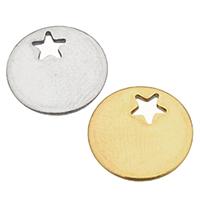 Edelstahl -Ergänzung-Kette Tropfen, flache Runde, plattiert, keine, 12.50x1mm, Bohrung:ca. 3x3mm, 200PCs/Tasche, verkauft von Tasche