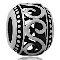 Edelstahl European Perlen, 316 L Edelstahl, Trommel, ohne troll & hohl & Schwärzen, 9x11mm, Bohrung:ca. 4mm, 10PCs/Tasche, verkauft von Tasche