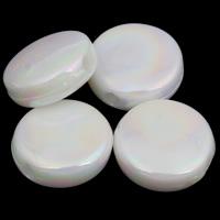 Plattierte Acrylperlen, Acryl, flache Runde, bunte Farbe plattiert, imitiertes Porzellan, weiß, 9x4mm, Bohrung:ca. 1mm, ca. 2000PCs/Tasche, verkauft von Tasche