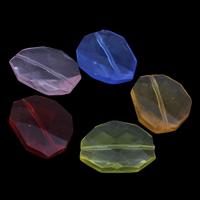 Transparente Acryl-Perlen, Acryl, facettierte, gemischte Farben, 22x26x7mm, Bohrung:ca. 1mm, ca. 200PCs/Tasche, verkauft von Tasche
