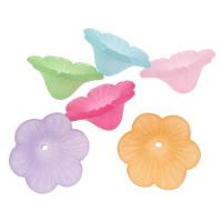 Acryl Perlkappen, Blume, satiniert & transluzent, gemischte Farben, 21x20x9mm, Bohrung:ca. 1mm, ca. 600PCs/Tasche, verkauft von Tasche