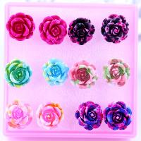 Kunststoff Ohrstecker, mit Gummi Earnut, Blume, gemischte Farben, 13mm, 20BoxenFeld/Menge, 6PaarePärchen/Box, verkauft von Menge
