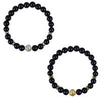 Schwarze Achat Armbänder, Schwarzer Achat, mit Zinklegierung, Löwe, plattiert, natürliche, keine, frei von Nickel, Blei & Kadmium, 8mm, verkauft per ca. 7 ZollInch Strang
