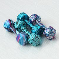 Edelstahl Fake Plug, Hantel, Einbrennlack, gemischtes Muster, 4x11mm, 1mm, 10PCs/Menge, verkauft von Menge