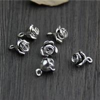 Bali Sterling Silber Anhänger, Thailand, Blume, 10.40x13mm, Bohrung:ca. 2mm, 5PCs/Menge, verkauft von Menge