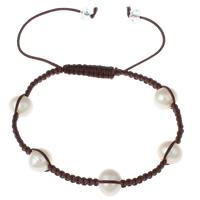 Süßwasserperlen Woven Ball Armbänder, Natürliche kultivierte Süßwasserperlen, mit Nylonschnur & Kristall, natürlich, einstellbar & facettierte, weiß, 8-9mm, verkauft per ca. 6 ZollInch Strang