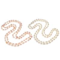 Natürliche Süßwasser Perle Halskette, Natürliche kultivierte Süßwasserperlen, Reis, 2 strängig, keine, 7-8mm, verkauft per ca. 45.5 ZollInch Strang