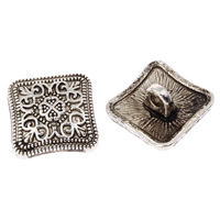 Zinklegierung Ösenknöpfe, Rhombus, antik silberfarben plattiert, frei von Blei & Kadmium, 14x7mm, Bohrung:ca. 2mm, ca. 210PCs/kg, verkauft von kg