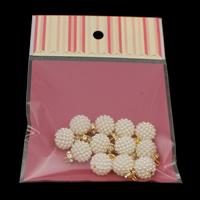 ABS-Kunststoff-Perlen Anhänger, mit OPP & Messing, rund, goldfarben plattiert, verschiedene Größen vorhanden & mit Strass, weiß, Bohrung:ca. 2mm, 12PCs/Tasche, verkauft von Tasche