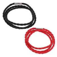 PU Schnur Armbänder, PU Leder, Edelstahl Magnetverschluss, 3-Strang, keine, 4mm, verkauft per ca. 22.5 ZollInch Strang
