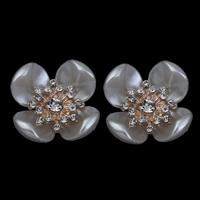 Schmuckzubehör, ABS-Kunststoff-Perlen, mit Zinklegierung, Blume, goldfarben plattiert, mit Strass, weiß, 23x11mm, Bohrung:ca. 1mm, 3PCs/Tasche, verkauft von Tasche