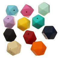 Silikon-Perlen, Silikon, FDA-Zulassung, keine, 17x17x17mm, Bohrung:ca. 2mm, 50PCs/Tasche, verkauft von Tasche