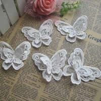 Mode Dekoration Blumen, Polyester, Schmetterling, weiß, 70x60mm, 100PCs/Menge, verkauft von Menge