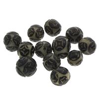 Buddhistische Perlen, Bodhi, rund, geschnitzt, originale Farbe, 12-16mm, Bohrung:ca. 2mm, 100PCs/Tasche, verkauft von Tasche