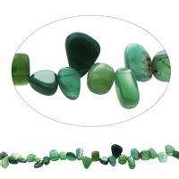 Natürliche grüne Achat Perlen, Grüner Achat, Klumpen, 8x6mm-12x18x7mm, Bohrung:ca. 1.5mm, ca. 46PCs/Strang, verkauft per ca. 15.5 ZollInch Strang