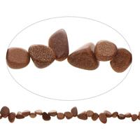 Edelstein-Span, Goldsand, Klumpen, natürlich, 7x11x6mm-13x15x8mm, Bohrung:ca. 1mm, ca. 45PCs/Strang, verkauft per ca. 15.5 ZollInch Strang