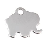 Edelstahl Etikette, Elephant, originale Farbe, 12x11x1mm, 500PCs/Tasche, verkauft von Tasche