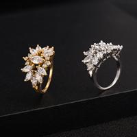 Gets® Finger Ring, Messing, Blume, plattiert, verschiedene Größen vorhanden & mit kubischem Zirkonia & facettierte, keine, frei von Nickel, Blei & Kadmium, 16mm, verkauft von PC