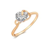 Gets® Finger Ring, Messing, Herz, vergoldet, verschiedene Größen vorhanden & mit kubischem Zirkonia & facettierte, frei von Nickel, Blei & Kadmium, 7mm, verkauft von PC
