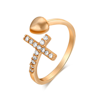 Gets® Finger Ring, Messing, Kreuz, vergoldet, verschiedene Größen vorhanden & mit kubischem Zirkonia, frei von Nickel, Blei & Kadmium, 12mm, verkauft von PC