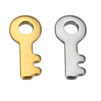 Edelstahl -Ergänzung-Kette Tropfen, Schlüssel, plattiert, keine, 4.50x10x1mm, Bohrung:ca. 2mm, 400PCs/Menge, verkauft von Menge