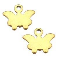 Edelstahl -Ergänzung-Kette Tropfen, Schmetterling, goldfarben plattiert, 9x8.50x1mm, Bohrung:ca. 1mm, 400PCs/Menge, verkauft von Menge