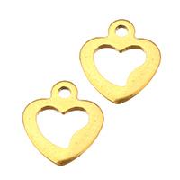 Edelstahl -Ergänzung-Kette Tropfen, Herz, goldfarben plattiert, 9x10x1mm, Bohrung:ca. 1mm, 300PCs/Menge, verkauft von Menge