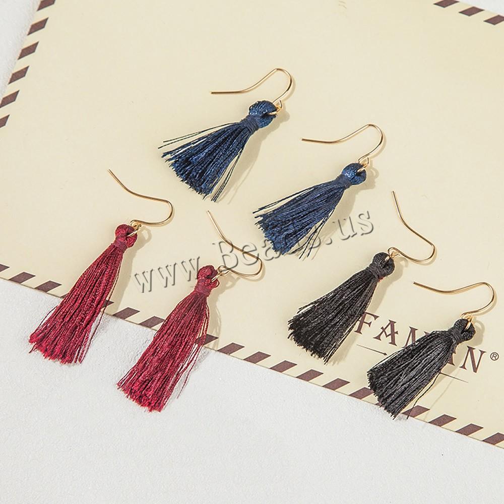Mode-Fringe-Ohrringe, Nylonschnur, Eisen Haken, goldfarben plattiert, keine, 31mm, verkauft von Paar