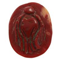 Koralle Anhänger, Natürliche Koralle, natürlich, geschnitzed, rot, 26x35x8mm, Bohrung:ca. 1mm, verkauft von PC