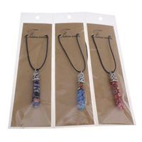 Glas Millefiori Halskette, mit Gewachste Hanfschnur & OPP & Zinklegierung, mit Verlängerungskettchen von 5cm, Pendel, Platinfarbe platiniert, keine, 11x66mm, verkauft per ca. 15.5 ZollInch Strang
