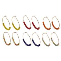 Eisen Kreolen, mit Glas-Rocailles, goldfarben plattiert, keine, frei von Blei & Kadmium, 50x56x6mm, verkauft von Paar