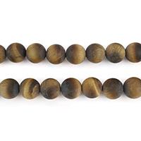 Tigerauge Perlen, rund, natürlich, verschiedene Größen vorhanden & satiniert, Klasse AB, Bohrung:ca. 1mm, verkauft per ca. 15.8 ZollInch Strang