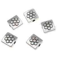 Zinklegierung flache Perlen, Rechteck, antik silberfarben plattiert, frei von Blei & Kadmium, 8x4mm, Bohrung:ca. 1mm, 100G/Tasche, verkauft von Tasche