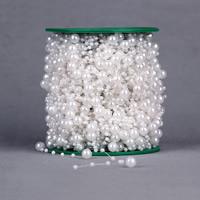 Garland-Strang Perlen, ABS-Kunststoff-Perlen, mit Kunststoffspule, rund, weiß, 3mm, 8mm, 60m/PC, verkauft von PC