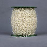 Garland-Strang Perlen, ABS-Kunststoff-Perlen, mit Kunststoffspule, rund, beige, 3mm, 120m/PC, 120m/PC, verkauft von PC