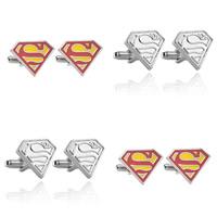 Manschettenknöpfe, Zinklegierung, Superman Logo, Platinfarbe platiniert, Emaille, keine, frei von Blei & Kadmium, 20mm, verkauft von Paar