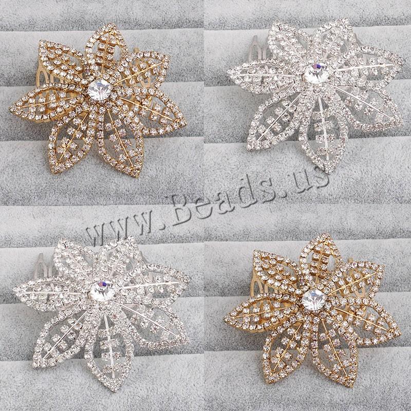 Braut Dekoratives Haarkämmchen, Zinklegierung, Blume, plattiert, für Braut & mit Strass, keine, frei von Blei & Kadmium, 63x68mm, verkauft von PC