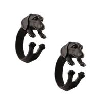 Zinklegierung Manschette Fingerring, Hund, Einbrennlack, frei von Nickel, Blei & Kadmium, Größe:7, 3PCs/Menge, verkauft von Menge