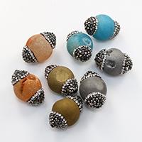 Natürliche Eis Quarz Achat Perlen, Eisquarz Achat, mit Ton, keine, 16-17x24-25mm, Bohrung:ca. 1.5mm, 20PCs/Menge, verkauft von Menge