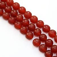 Buddhistische Perlen, Roter Achat, rund, natürlich, buddhistischer Schmuck & om mani padme hum & satiniert, 10mm, Bohrung:ca. 1mm, Länge:ca. 15 ZollInch, 5SträngeStrang/Menge, ca. 38PCs/Strang, verkauft von Menge