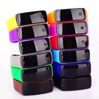 LED Armbanduhr, Silikon, mit Kunststoff, Edelstahl Druckknopf Verschluss, einstellbar, keine, 50x21mm, Länge:ca. 9 ZollInch, verkauft von PC