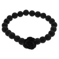 Lava Armband, mit Harz, Blume, natürlich, schwarz, 17x9mm, verkauft per ca. 6.5 ZollInch Strang